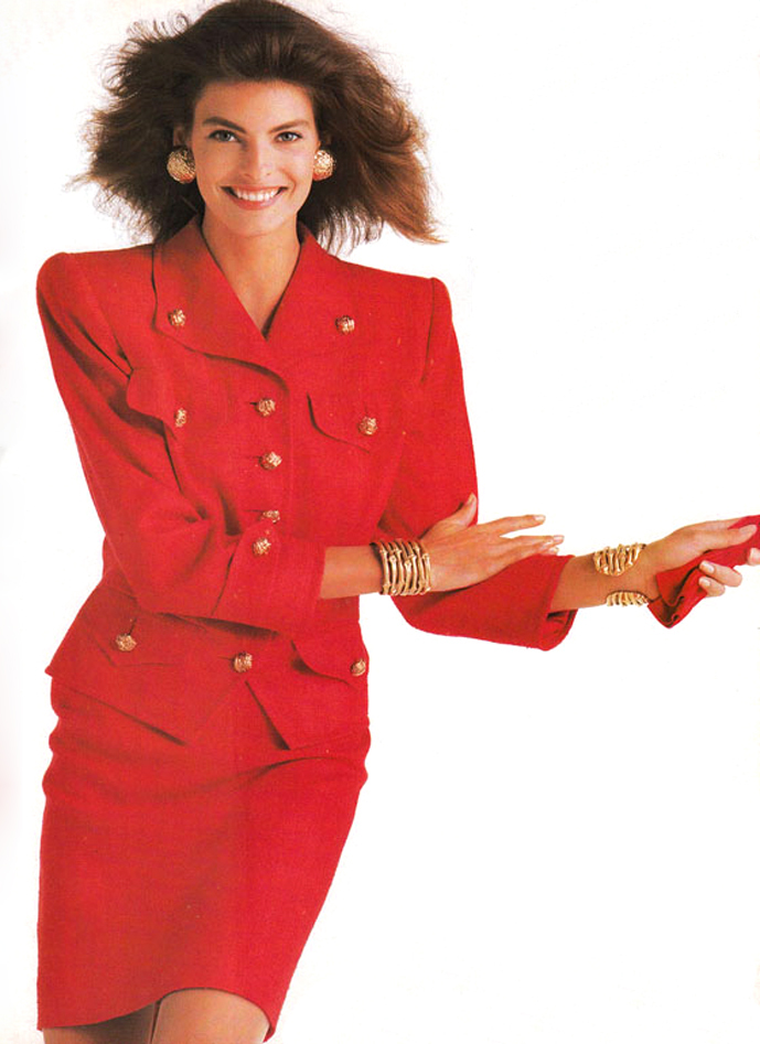 Linda Evangelista wearing Yves Saint Laurent in Vogue UK April 1987 via www.fashionedbylove.co.uk