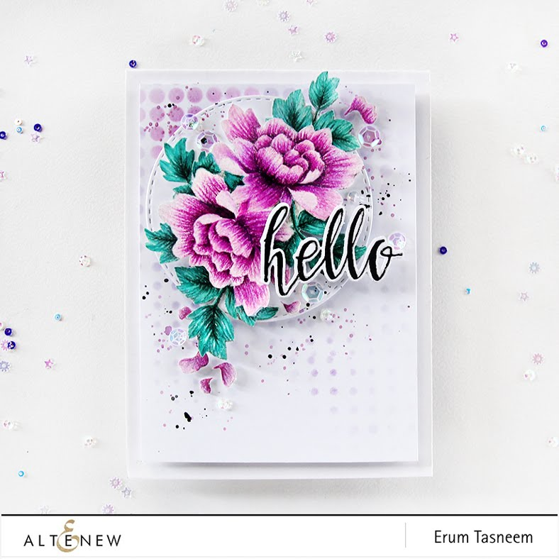 Altenew Peony Scrolls No Line Pencil Colouring, Halftone Hello and Halftone Stencil. Card by Erum Tasneem - @pr0digy0