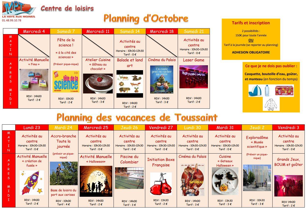 maison pour tous la haye aux moines planning d 39 octobre centre de loisirs. Black Bedroom Furniture Sets. Home Design Ideas