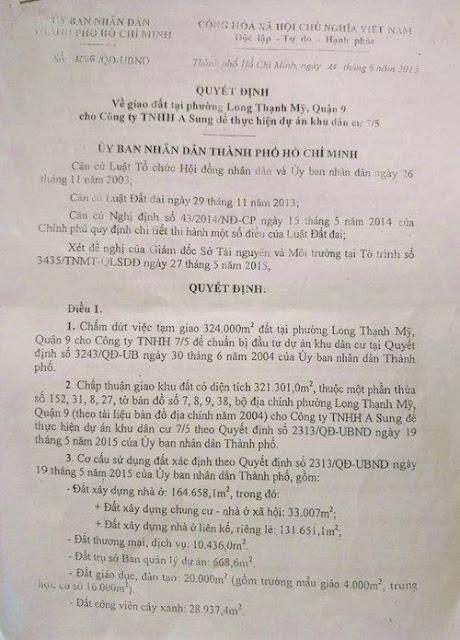 Quyết định do Phó Chủ tịch UBND TP.HCM Nguyễn Hữu Tín ký giao hơn 32ha đất cho Công ty TNHH A Sung