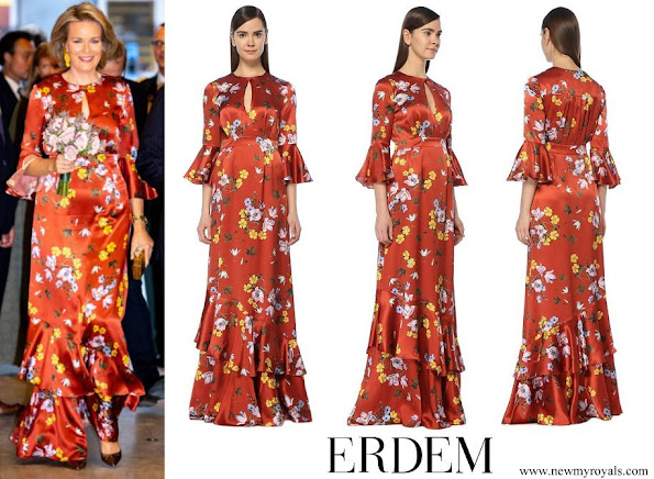 Queen Mathilde wore ERDEM Venice Silk Satin Gown