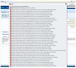 Oracle fusion Item creation Organization assignment error