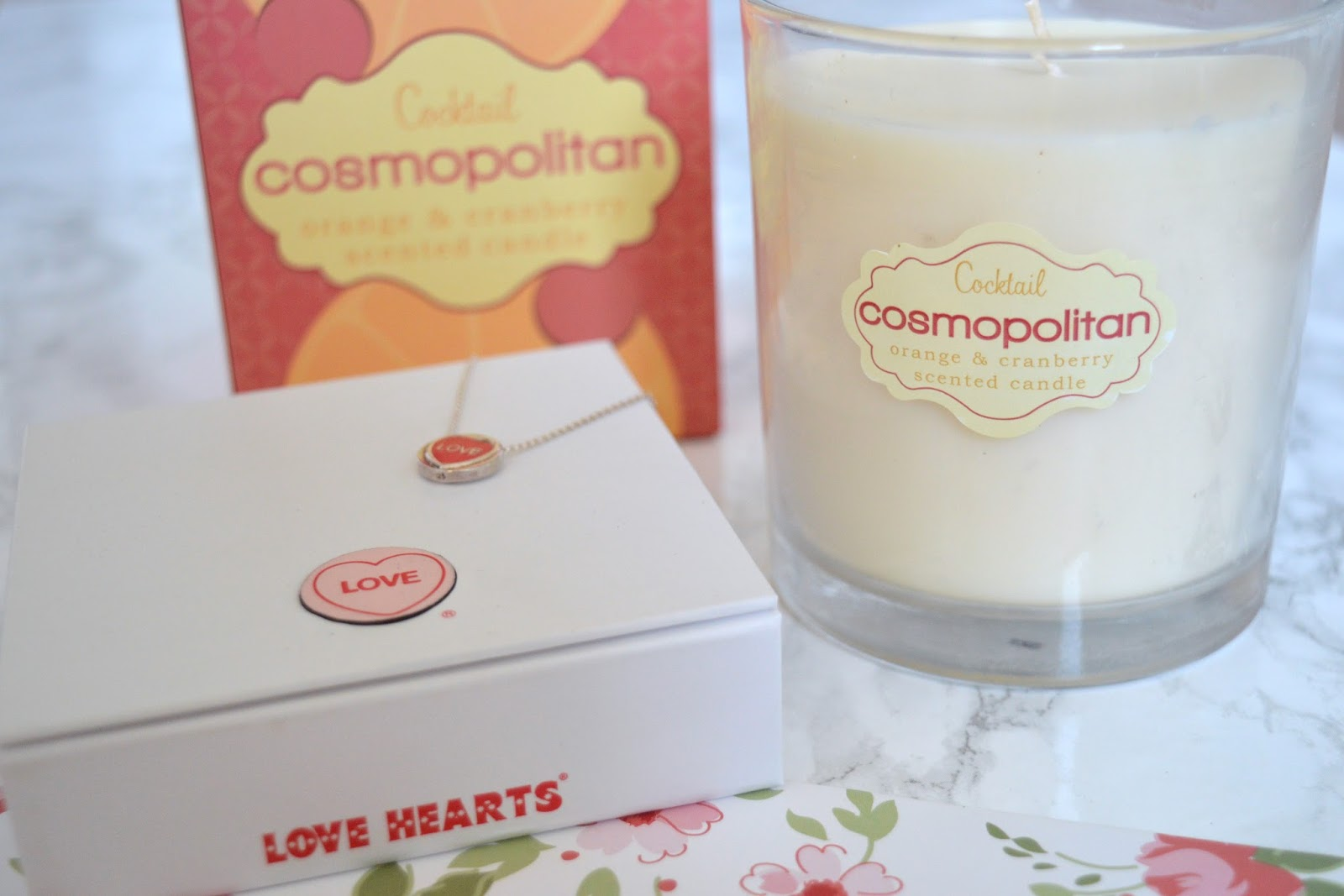 Cosmopolitan Cocktail Candle and Engraved Red Love Heart Necklace