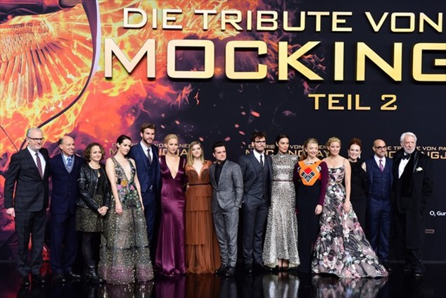 Cast and crew of The Hunger Games: Hope - Part 2 in the world premiere in Berlin
