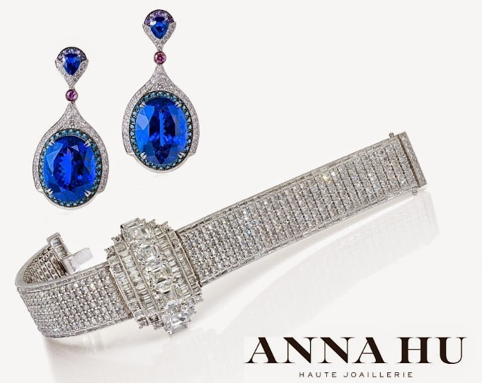 Anna Hu Haute Joaillerie's Wallis Simpson Bracelet and Modern Art Deco Earrings in Sapphires