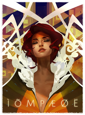 Cartaz criado por Jen Zee no estilo de Art Déco com a personagem - ela esta com olhos fechados e com uma sensação de tranquilidade.