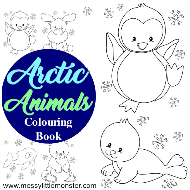 Arctic animal kids colouring pages to download (for free) and print out.  The free printables include a penguin, a reindeer or moose, a polar bear, an arctic fox, a whale, a narwhal and a seal. Great for toddler, preschoolers and big kids too as part of an arctic animal or winter project.