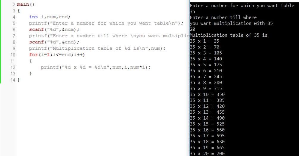 All C Programs Program 165multiplication Table