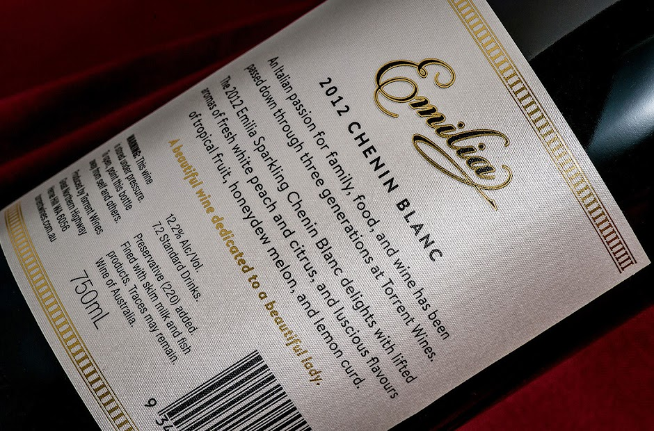 Torrent Wines Emilia Sparkling packaging design