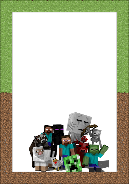 Free printable minecraft invitations, Cards or labels