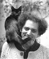 George Perec with cat on his shoulder