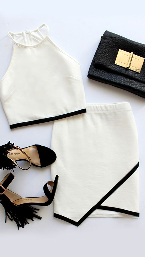 Lovely Two Piece Outfit Black And White Combo