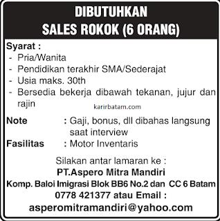 Lowongan Kerja PT. Aspero Mitra Mandiri (November 2018)