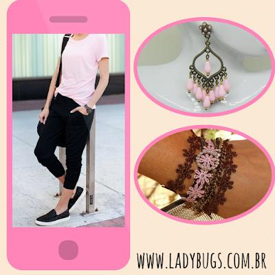 pink rosa moda ladybugs's bijuterias