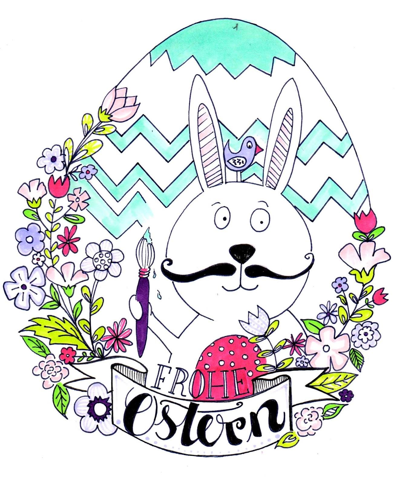 Miriam Nowak : Frohe Ostern - kostenloses Ausmalbild