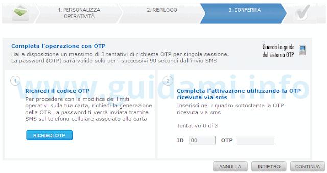 Sito Poste richiedere codice OTP per confermare modifiche limiti carta Postepay