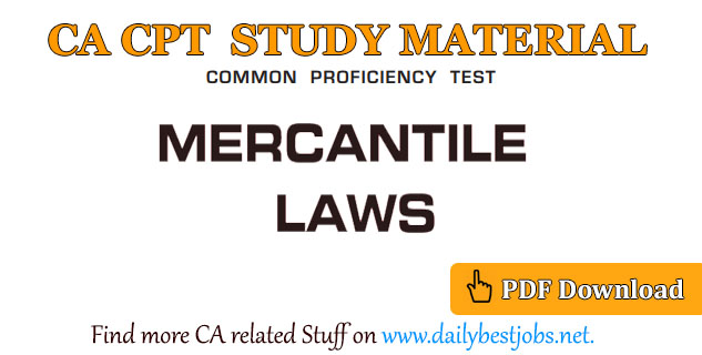 CA CPT Mercantile Law PDF Free Download (Study Material)