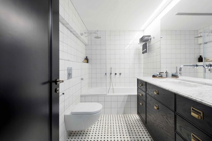 Thiết kế nội thất căn hộ chung cư 150m2 với hai màu đen trắng- 11