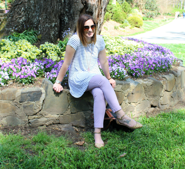 spring style, old navy pixie pants, glitter flats