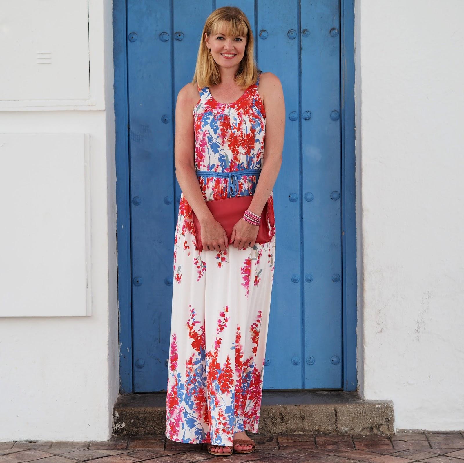 Braintree eco-fashion multi-coloured floral maxi dress. Nerja