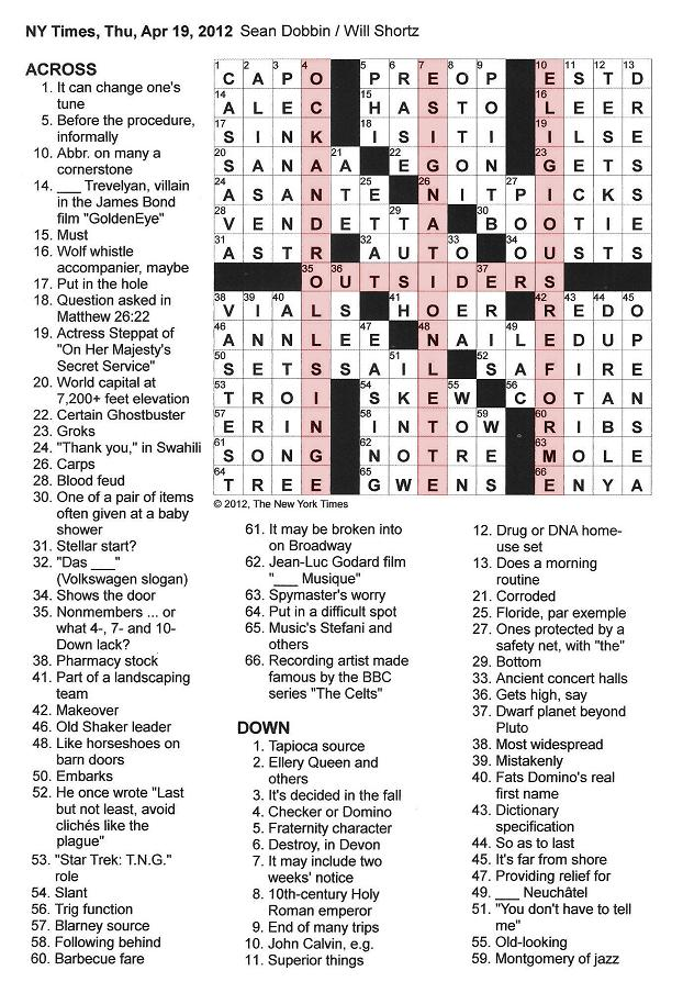 The New York Times Crossword in Gothic: 04.19.12 — Outside Rs