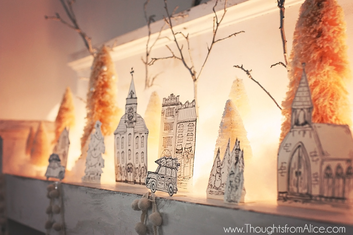 Diy printable christmas village anthropologie inspired solutioingenieria Images