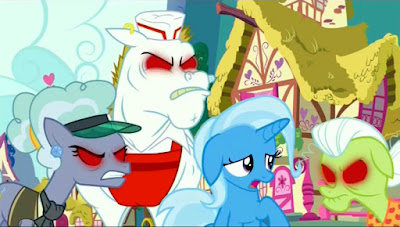 Angry, red-eyed ponies surrounding Trixie