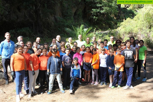 Cuarenta escolares de Santa Cruz de La Palma celebran el Día del Medio Ambiente con la limpieza del barranco de Los Breñuscos