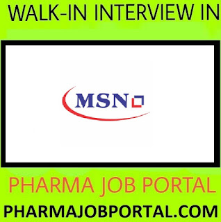 MSN LABORATORIES LTD Walk In Drive for Quality Control & Production  at 1 September