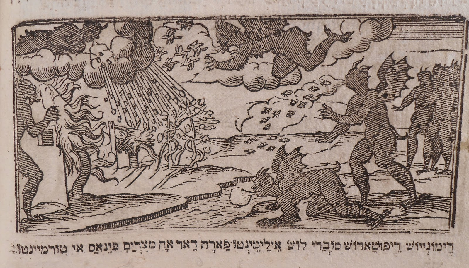 A woodcut showing a series of devil-like figures releasing plagues.