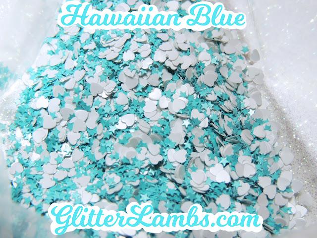 """Glitter Lambs """"Hawaiian Blue"""" Loose Glitter Mix Craft Glitter Nail Art Glitter White Hearts Mini Blue Stars Glitter"""
