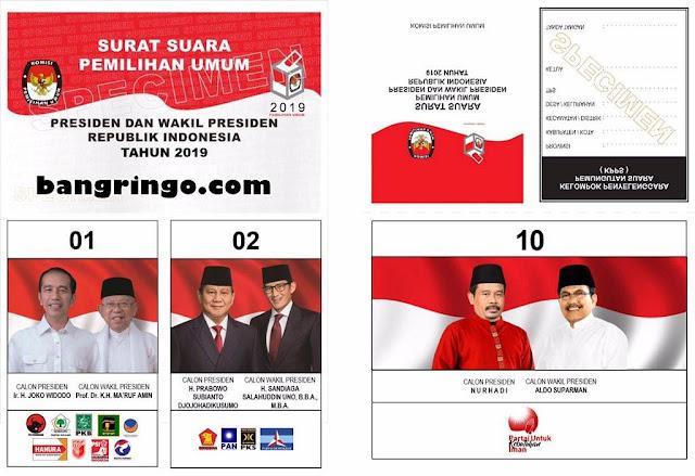 surat suara pilpres - pasangan pilpres nomor urut 10 - nurhadi aldo