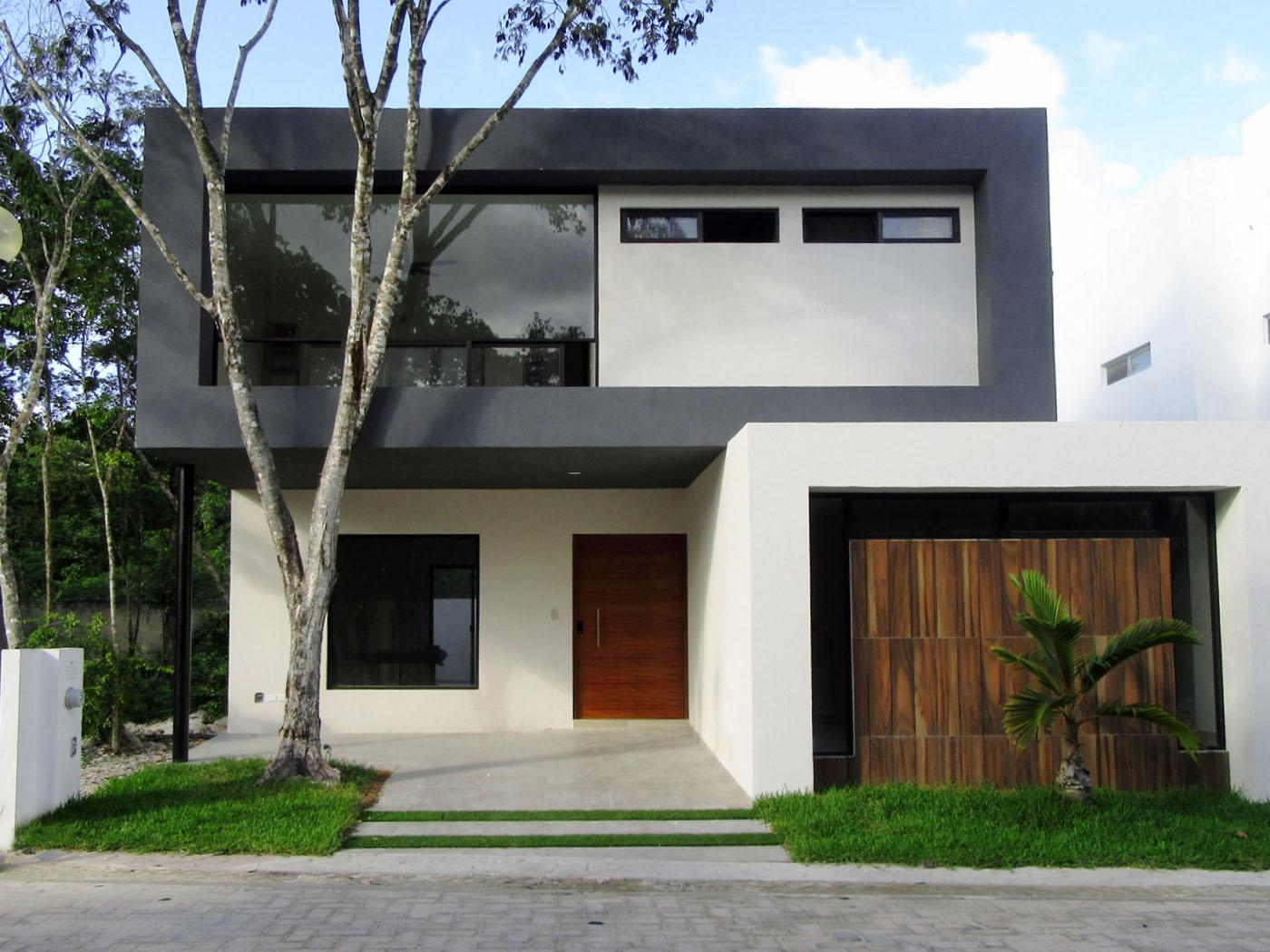 foto fachada de casa de dos pisos moderna minimalista