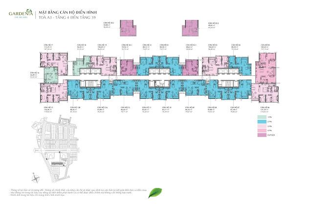 Mặt bằng A3 tầng điển hình từ tầng 4 đến tầng 39 Vinhomes Gardenia