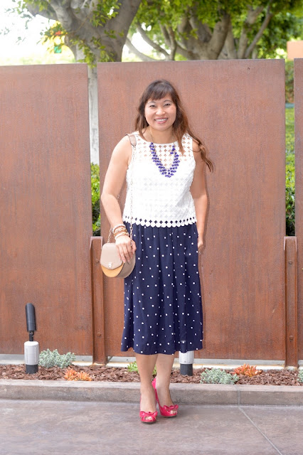 J crew Pleated Midi in polka dot, what to wear to baby shower