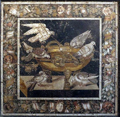 Roman mosaic - doves drinking out of a cup and floral and fruits border, Opus Vermicullatum, Pompeii, 1st century AD