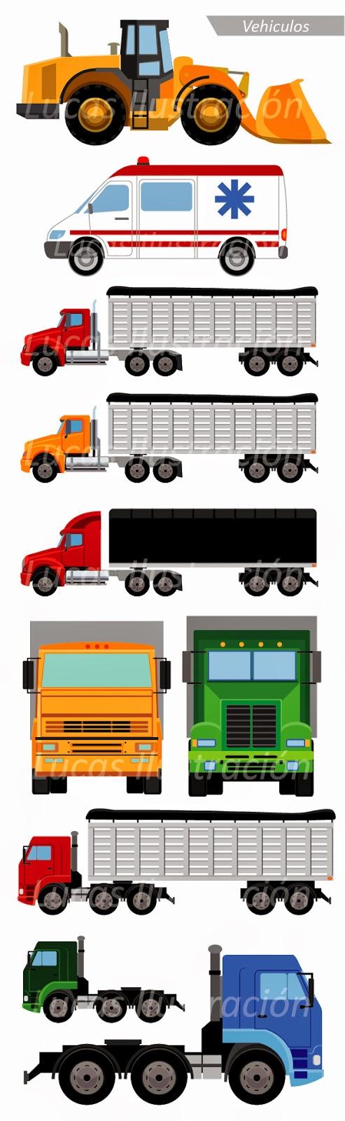 Camión camiones tractomulas ambulancia pala mecánica illustrator ilustración vector