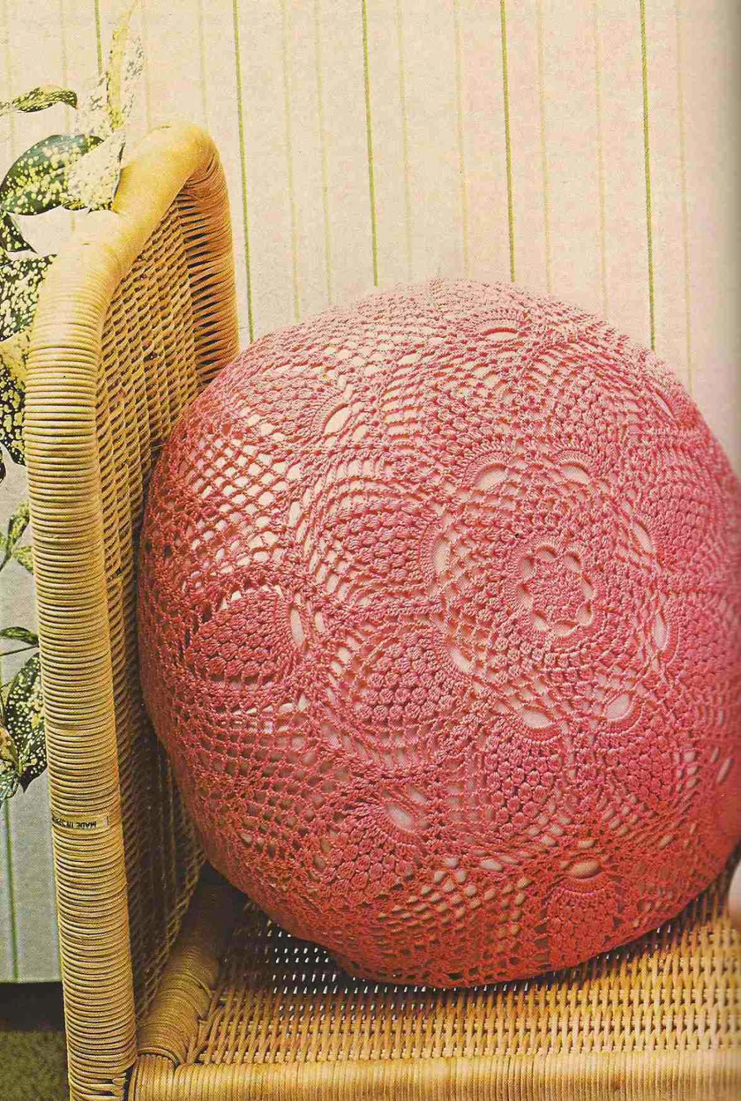 Cojín Redondo a Crochet o Ganchillo