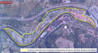 Plano de los suelos de Profusa en la zona de Kastrexana, en los términos municipales de Barakaldo y Bilbao