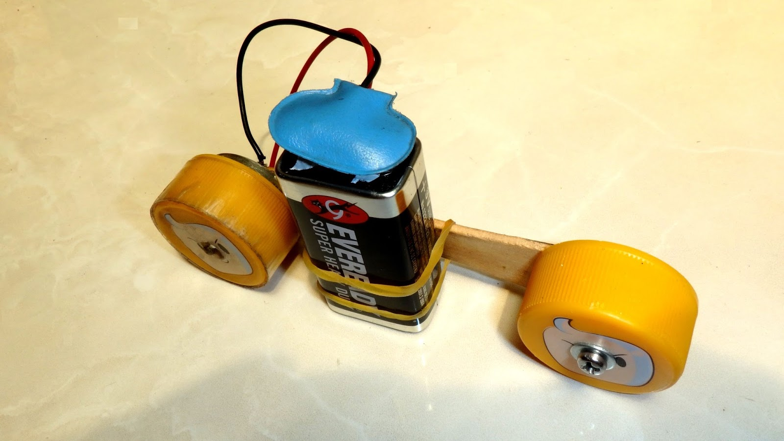 February 2018 Kontramur Motorcycle Toy Can Be Made Easily At Home With Only Household Material Such As 2x Pieces Of Plastic Bottle Cap Ice Cream Stick 9 Volt Battery