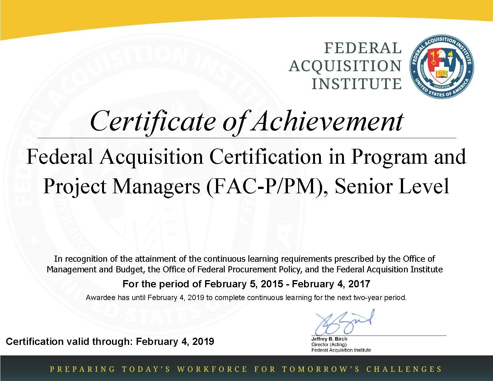 Fsce certifications the passport stamp collector blog its the federal government equivalent of the private sectors project management professional pmp certificate 1betcityfo Images