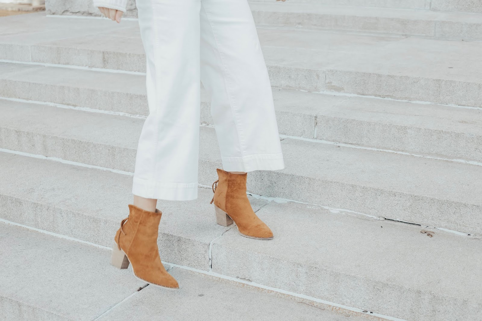 white crop jeans cognac booties