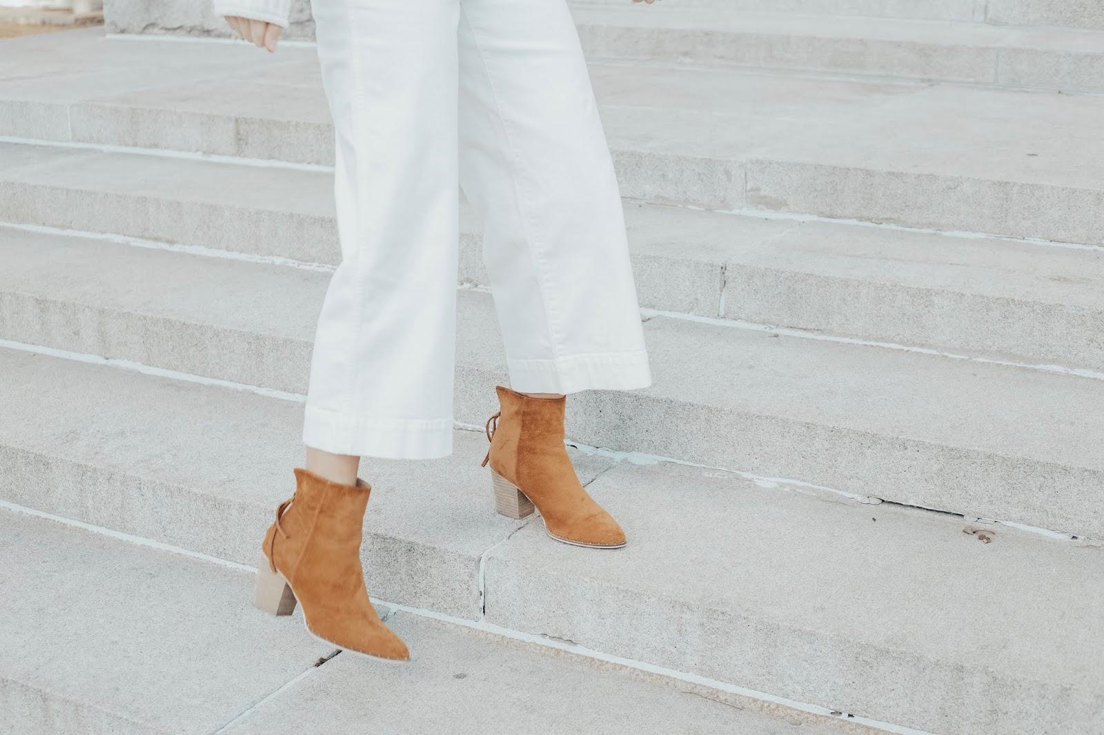 white crop jeans cognac booties