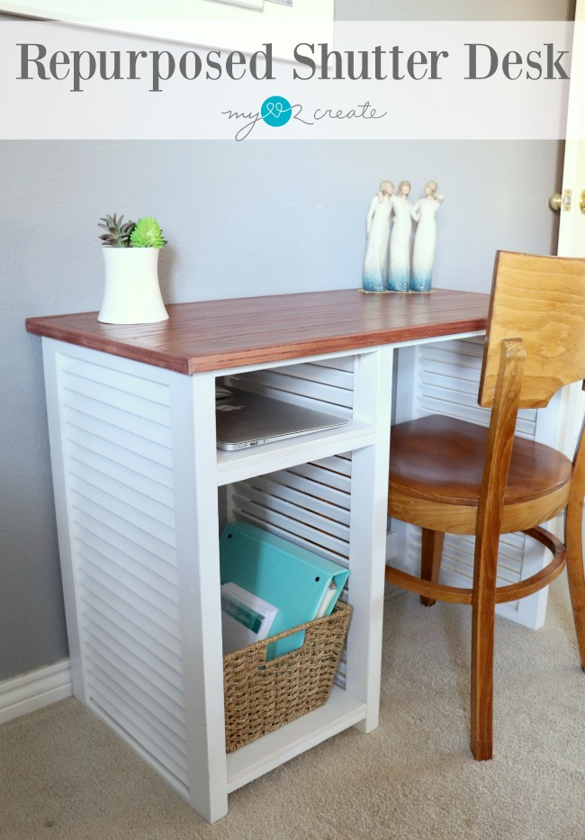 repurpose old shutters and floor boards to make a beautiful desk!