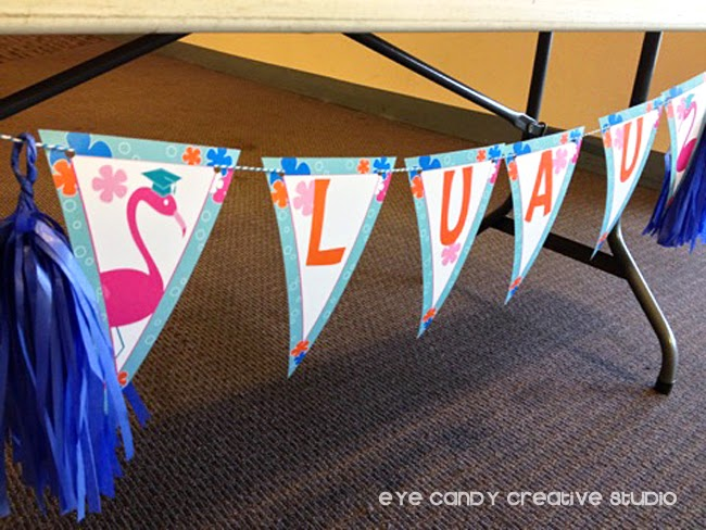 luau banner, graduation luau party, flamingos, grad cap, grad party