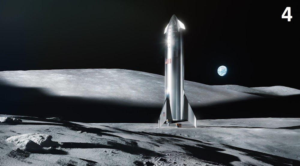 Official render of SpaceX Starship on the Moon