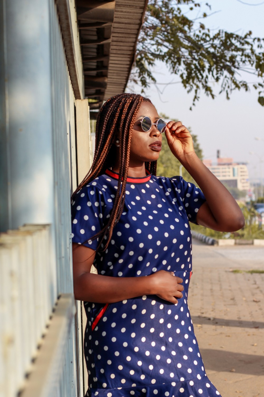 abuja fashion blogger in polka dot trend
