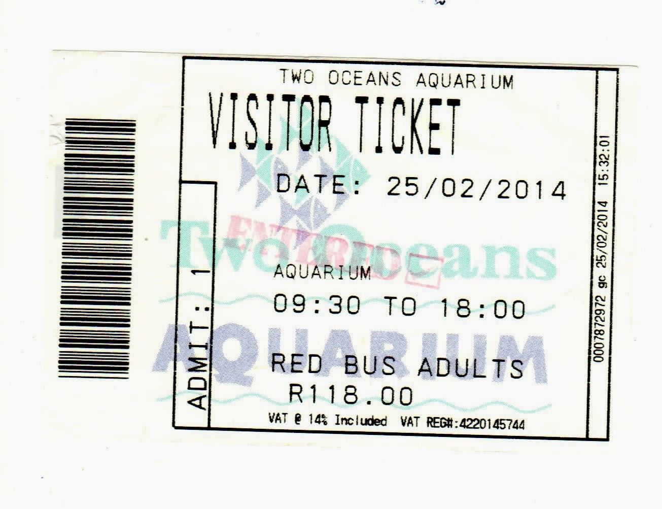 ticket Aquário Two Oceans