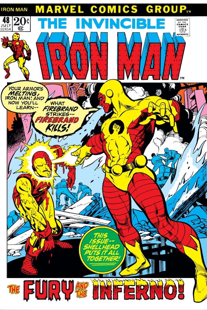 Firebrand melting Iron Man's armor with a heat ray, above title 'The Fury and the Inferno!'