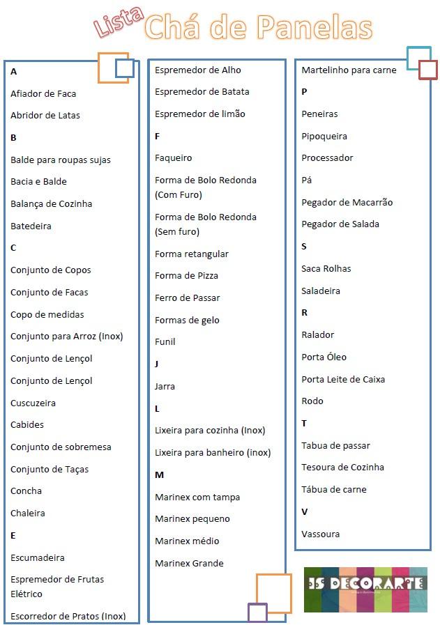 Well-known Is DecorArte: Diário de Noiva | Lista de Presentes para Chá de Panela QM88